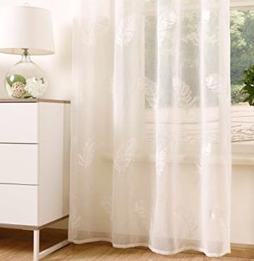 1er Gardine Store Voile Vorhang Leinenoptik Ösenvorhang Transparent Dekoschal mit Stickerei Weiß 140 x 245cm Leinenoptik Jacquard Feder Muster Modern -