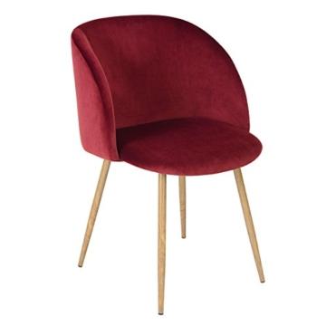 1er Set Vintager Retro Sessel Polstersessel Samt Lounge sessel Clubsessel Fernsehsessel (Weinrot) -