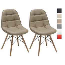 2er Set Esszimmerstuhl aus Kunstleder Cappuccino Farbauswahl Retro Design Stuhl mit Rückenlehne Holzbeine WY-466 -
