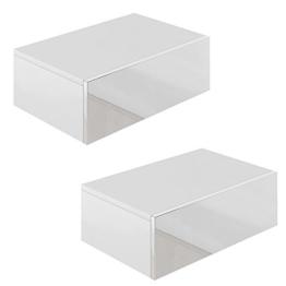 2x Nachttisch Kommode Nachtschrank Schublade Ablage Schrank Schlafzimmer Weiß Hochglanz -