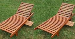 2x Sonnenliege Gartenliege Strandliege Liegestuhl Holzliege Holz Eukalyptus Hartholz wie Teak SABALO von AS-S -