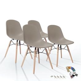 4er Set Charley2.0 Esszimmer Stuhl Mild Grau Matte Kunststoff mit Buche Holzbeine Massiv Holz 10 Bequemer Modern Farbig Retro Vintage Design Esstisch Stühle -