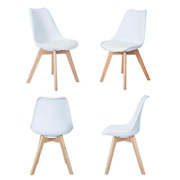 4er Set Esszimmerstühle mit Massivholz Buche Bein, Retro Design Gepolsterter lStuhl Küchenstuhl Holz, Weiß -