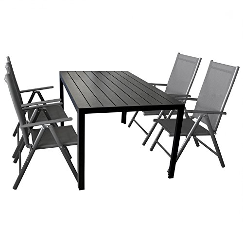 5 teilige gartengarnitur gartenm bel terrassenm bel set sitzgruppe aluminium gartentisch. Black Bedroom Furniture Sets. Home Design Ideas