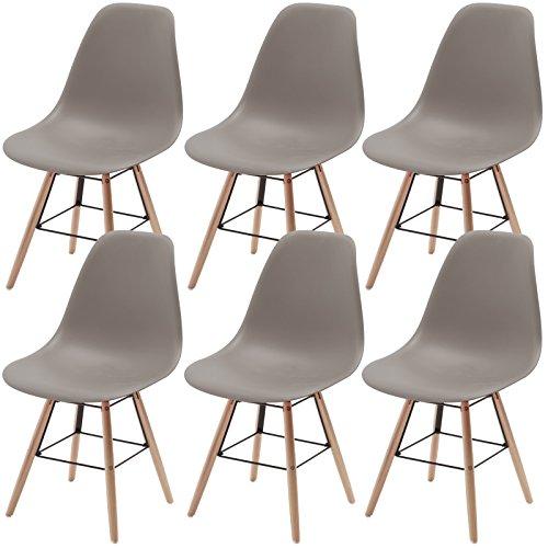 6x retro stuhl in grau designer esszimmer schalenstuhl for Esszimmer schalenstuhl