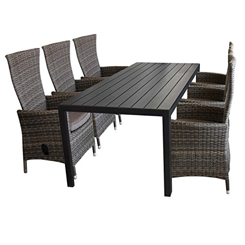 7tlg gartenm bel set aluminium polywood gartentisch 205x90cm 6x gartensessel polyrattan. Black Bedroom Furniture Sets. Home Design Ideas