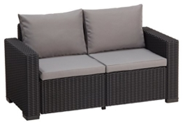 Allibert Lounge Sofa Rattan, Lounge California Sofa, Grau, 2-Sitzer -