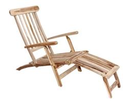 Ambientehome Teakholz Deckchair Liege Gartenliege Samui, Natur -