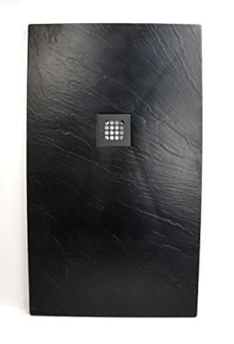 Art-of-Baan® - Extra flache Duschtasse, Duschwanne aus Acryl, Antirutsch (ABS) Oberfläche Schwarz; 120x70x3,5cm inkl. Ablaufgarnitur -