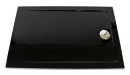 Art-of-Baan® - Extra flache Duschtasse, Duschwanne aus Acryl glatt schwarz Hochglanz; 100x80x3,5cm inkl. Ablaufgarnitur -
