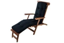 Auflage Teak Deckchair Relaxliege Liegestuhl Sonnenliege Gartenliege Gartenstuhl, Farbe:Tarim schwarz -