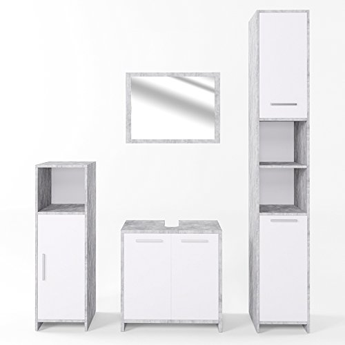badm bel set kiko wei beton grau spiegel unterschrank 2x badschrank klein gro. Black Bedroom Furniture Sets. Home Design Ideas