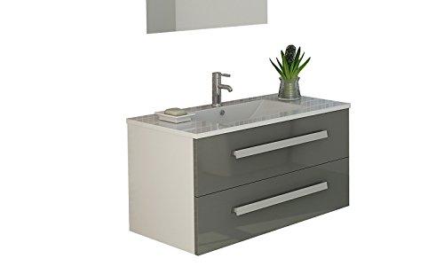 badset rapperswil in grau mit hochglanz front soft close waschbecken set waschtisch neu. Black Bedroom Furniture Sets. Home Design Ideas