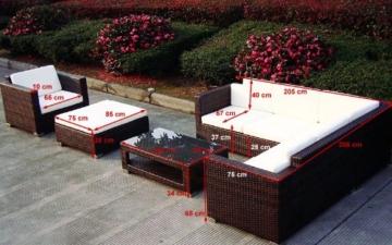 Baidani Gartenmöbel-Sets 10c00020.00001 Designer Lounge-Wohnlandschaft Sunset, Eck-Sofa, 1 Sessel, 1 Hocker, 1 Couchtisch mit Glasplatte, schwarz -