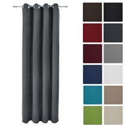 Beautissu Blackout-Vorhang Amelie mit Ösen - 140x245 cm Anthrazit (Grau) Uni - Verdunklungsgardine Ösenschal Blickdicht -