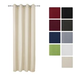 Beautissu Blickdichter Ösen-Vorhang Amelie - 140x245 cm Creme (Beige) Uni - Dekorative Gardine Ösenschal Fenster-Schal -
