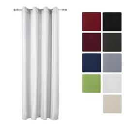 Beautissu Blickdichter Ösen-Vorhang Amelie - 140x245 cm Weiß Uni - Dekorative Gardine Ösenschal Fenster-Schal -