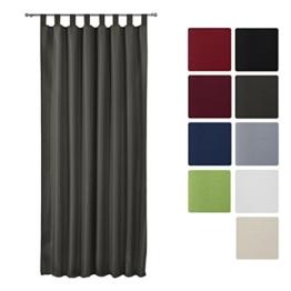 Beautissu® Blickdichter Schlaufen-Vorhang Amelie - 140x245 cm Anthrazit (Grau) Uni - Dekorative Gardine Schlaufenschal -