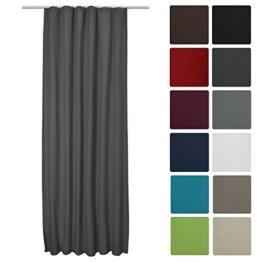 Beautissu® Thermovorhang Amelie 140x245 cm Kräuselband Vorhang blickdicht & Verdunkelung - Gardine in Anthrazit-Grau -