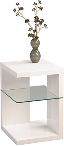 Beistelltisch / Nachttisch Domingo, 40x60x40cm, weiß Hochglanz -
