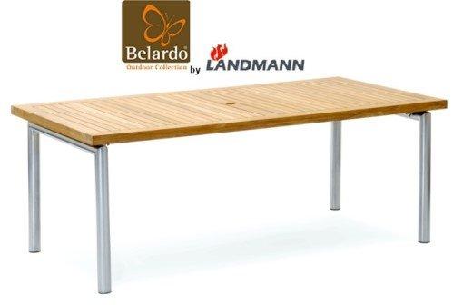 belardo by landmann gartentisch aus teakholz 200x100cm edelstahl garten tisch. Black Bedroom Furniture Sets. Home Design Ideas