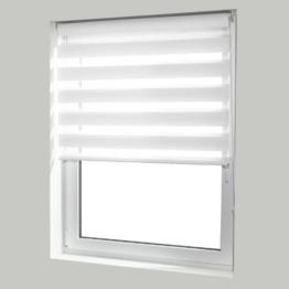 casa pura® Doppelrollo Day & Night mit Doppelfunktion - tageslichtdurchlässig und verdunkelnd - in 8 Größen | Weiß | 70x150cm -
