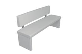 """Cavadore Sitzbank """"Charisse"""" India Weiß / Moderne, gepolsterte Bank mit Lehne / Kunstleder-Bank weiß / Maße inkl. Lehne: 160 x 54 x 83 cm (B x T x H) -"""