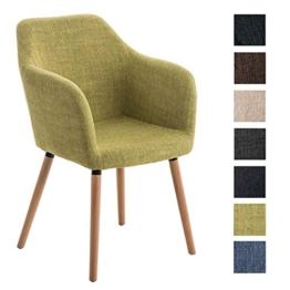 CLP Besucher Design-Stuhl PICARD, Holzgestell, Stoffbezug, gut gepolsterte Sitzfläche, modern grün -