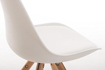 CLP Design Retro Stuhl PEGLEG, Schalenstuhl Sitzhöhe 46 cm, gepolstert, Sitz Kunststoff / Kunstleder weiß, Holzgestell natura -