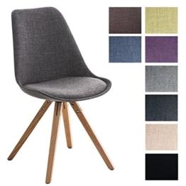 CLP Design Retro Stuhl PEGLEG SQUARE, Stoffbezug, Schalenstuhl, gepolstert, Sitzhöhe 46 cm hellgrau, Holzgestell Farbe natura, Bein-Form eckig -
