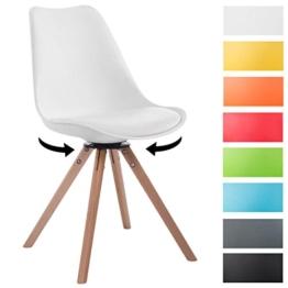 CLP Design Retro-Stuhl TROYES RUND, Kunststoff-Lehne, Kunstleder-Sitz, drehbar, gepolstert weiß, Holzgestell Farbe natura, Form rund -