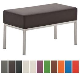 CLP Edelstahl Küchen-Bank LAMEGA, 80 x 40 cm, gepolstert, Kunstleder, modern, 2er Sitzbank Esszimmer, Küche, Flur, Gastro braun -