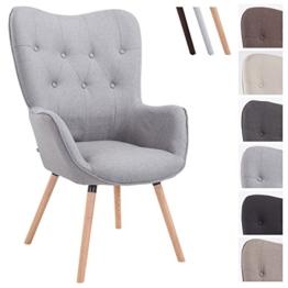 CLP Retro-Stuhl mit Armlehne AALBORG, Stoff-Bezug, Holz-Gestell Eiche, belastbar bis 160 kg, sesselförmiger Sitz, gepolstert, Sitzhöhe 49 cm Grau, Holzgestell Farbe: Natura -