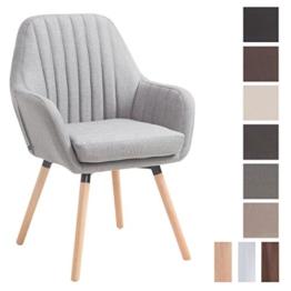 CLP Retro-Stuhl mit Armlehne FLORIAN, Stoff-Bezug, XL bis 160 kg, sesselförmiger Sitz, gepolstert, Sitzhöhe 53 cm Grau, Holzgestell Farbe: Natura -