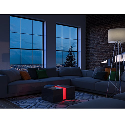 couchtisch led schwarz hochglanz loungetisch wohnzimmer tisch sofa couch modern edles. Black Bedroom Furniture Sets. Home Design Ideas
