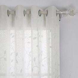 Deconovo Voile Vorhänge mit Ösen Vorhänge Durchsichtig Gardinenschals mit Stickerei 175x140 cm Creme Blatt 2er set -