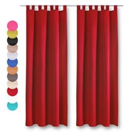 Dekoschal 2er Pack mit Schlaufen, Vorhang Gardine, Auswahl: 140 x 145 cm rot - salsa -