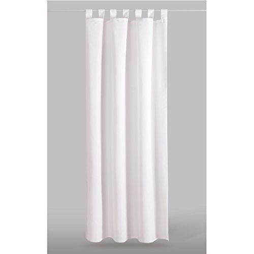 dekoschal gardine blickdicht schlaufenschal microsatin auswahl wei perlwei 140x145cm. Black Bedroom Furniture Sets. Home Design Ideas