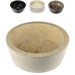 DIVERO Designbecken Marmor Naturstein Aufsatz-Waschbecken Venedig Handwaschbecken Waschschale Stein poliert rund creme sand -
