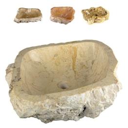 DIVERO Natur-Stein Waschschale Tortona Aufsatz-Waschbecken Handwaschbecken Marmor innen poliert außen naturbelassen creme beige weiß -