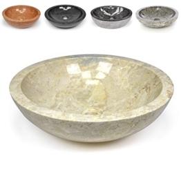 DIVERO Naturstein Aufsatz-Waschbecken Modena Handwaschbecken Waschschale Marmor Stein poliert rund beige creme -