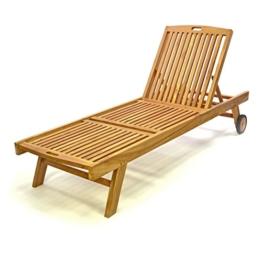 DIVERO Sonnenliege Holzliege mit Rollen Gartenliege Teakholz -
