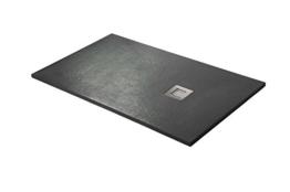 Duschwanne, Silex - Harz Duschwanne, extra flach schwarz graphit RAL 9005, Schwarz-Graphit, 90X160 -