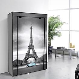EBS® Tragbare Non Woven Canvas Stoff Kleiderschrank Faltschrank /Lagerung 5 Regale - Eiffelturm 105 x 45 x 158 cm -