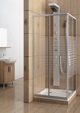 Eckeinstieg Duschkabine Echtglas Sicherheitsglas mit Streifen Silberne Profile 75x75 75x80 75x90 90x75 80x75 -
