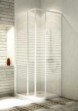 Eckeinstieg Duschkabine Echtglas Sicherheitsglas mit Streifen Weisse Profile Links 68 bis 83 und Rechts 73 bis 90cm Sondermass -