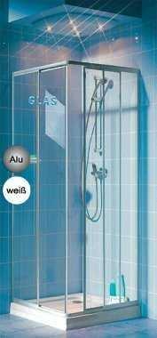 Eckeinstieg Duschkabine Echtglas Sicherheitsglas Silberne Profile Links 73 bis 88 und Rechts 68 bis 83cm Sondermass -