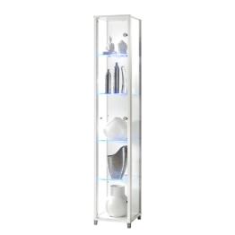 EEK A+, Vitrine Exhibit I - mit LED-Beleuchtung - Klarglas/Weiß, mooved