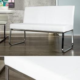 Elegante Design Sitzbank HAMPTON mit Rückenlehne weiss 120 cm -
