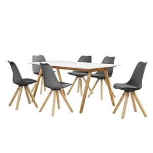 [en.casa] Esstisch Bambus weiß mit 6 Stühlen grau gepolstert 180x80cm Esszimmer Essgruppe Küche -